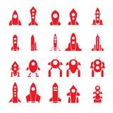 Reeks van 20 vectorsilhouetten van de beeldverhaalraket stock illustratie