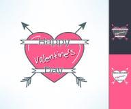 Reeks van vectorvalentijnskaarten hipster ontwerp met lint, hart en pijlen Liefde en Romaans ontwerpelement Stock Foto