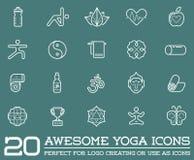 Reeks van Vectoryoga Zen Sport Elements Stock Afbeelding