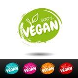 Reeks van 100% veganistkentekens Vectorhand getrokken etiketten Royalty-vrije Stock Afbeelding