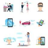 Reeks van vergrote werkelijkheid die verschillend modern apparaat met behulp van royalty-vrije illustratie