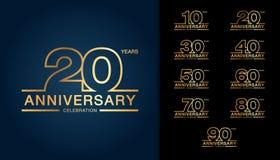 Reeks van verjaardag logotype Gouden verjaardagsviering embl Royalty-vrije Stock Afbeeldingen
