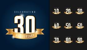 Reeks van verjaardag logotype Het embleem van de verjaardagsviering met Stock Foto's