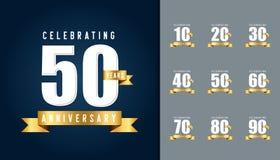 Reeks van verjaardag logotype Het ontwerptemperaturen van de verjaardagsviering Stock Foto's