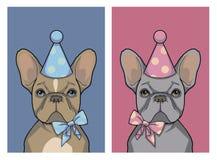 Reeks van verjaardags grijs meisje en de bruine hond van de jongens Franse Buldog met roze en blauw partijhoed en lint, grafische stock illustratie