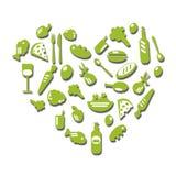 Reeks van vers voedsel in de vorm van hart Stock Foto