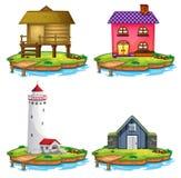 Reeks van verschillend huis op eiland vector illustratie