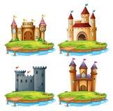 Reeks van verschillend kasteel stock illustratie