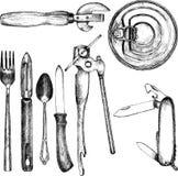 Reeks van verschillend keukenwerktuig Royalty-vrije Stock Foto