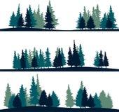 Reeks van verschillend landschap met sparren Stock Afbeelding