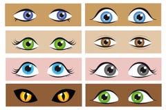 Reeks van verschillend ogenbeeldverhaal royalty-vrije illustratie