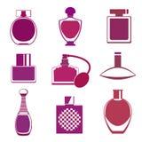 Reeks van verschillend type van parfumflessen Stock Afbeelding