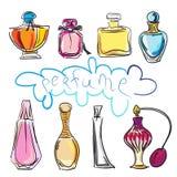 Reeks van verschillend type van parfumflessen Royalty-vrije Stock Foto