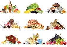 Reeks van verschillend voedsel Royalty-vrije Stock Afbeelding