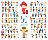 Reeks van 80 verschillende beroepen in beeldverhaalstijl Stock Foto's