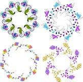 Reeks van verschillende bloemenboeketten, bloemen de kunst van de kaders vectorklem, kleurrijke en heldere bloemenkroon Stock Foto's