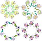 Reeks van verschillende bloemenboeketten, bloemen de kunst van de kaders vectorklem, kleurrijke en heldere bloemenkroon Royalty-vrije Stock Foto