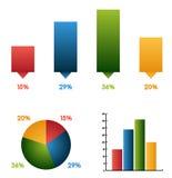 Reeks van 3 verschillende grafieken ( charts) met dezelfde gegevens en de kleuren Royalty-vrije Stock Foto's