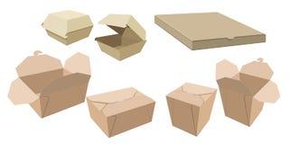 Reeks van verschillende karton verpakking voor snel voedsel stock illustratie