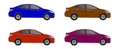 Reeks van verschillende kleurenauto, realistische automodellen stock illustratie