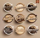 Reeks van verschillende koffie Royalty-vrije Stock Foto