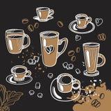 Reeks van verschillende kop thee en koffie Grafische met de hand gemaakte schets Vector illustratie Stock Foto's