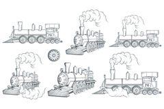 Reeks van verschillende locomotief Oud treinembleem Voortbewegingstekening Stoomvervoer vector illustratie