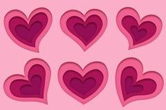 Reeks van 6 verschillende mooie roze harten in document kunststijl voor gelukwenskaarten voor huwelijk en de Dag van Valentine royalty-vrije illustratie