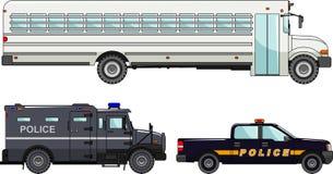 Reeks van verschillende politiewagens en gevangenisbus  Stock Foto