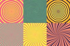 Reeks van verschillende psychedelische spiraal, draaikolk, draai Vector kleurrijke inzameling als achtergrond stock illustratie