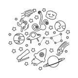 Reeks van verschillende ruimtekrabbel royalty-vrije illustratie