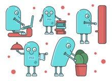 Reeks van verschillende scène met slimme robot RPA vector illustratie