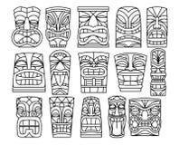 Reeks van Verschillende Tiki Idols Isolated On White-Achtergrond stock illustratie