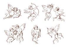 Reeks van verschillende uitstekende cupido Diverse het vliegen engelen met pijlen en booginzameling Vector zwart-wit getrokken am royalty-vrije illustratie