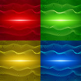 Reeks van vier abstracte achtergronden met golvende lijnen Royalty-vrije Stock Fotografie