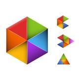 Reeks van vier abstracte geometrische symbolen Stock Afbeelding