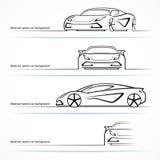 Reeks van vier abstracte sportwagensilhouetten Royalty-vrije Stock Foto
