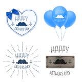 Reeks van vier Achtergronden van de Vadersdag vector illustratie