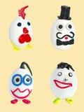 Reeks van vier ambachten van eieren en plasticine Stock Afbeeldingen