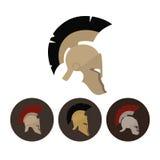 Reeks van vier antieke helmen, vectorillustratie Stock Foto