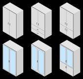 Reeks van vier banken isometrisch Stock Afbeeldingen