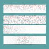 Reeks van vier banners met textuur van waterdalingen Regenachtig dagpatroon Royalty-vrije Stock Afbeelding