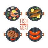 Reeks van vier barbecuegrills Vissen, lapje vlees, worsten, groenten Vector illustratie die op witte achtergrond wordt geïsoleerd vector illustratie
