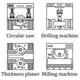 Reeks van vier beelden van industriële machines Stock Foto