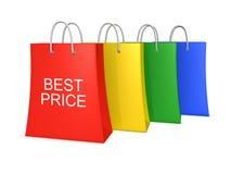 Reeks van vier beste prijs het winkelen zakken Royalty-vrije Stock Foto's
