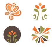 Reeks van vier bloemenontwerpen Stock Illustratie