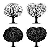 Reeks van vier bomen Royalty-vrije Stock Afbeeldingen