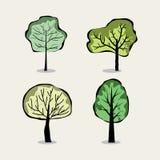 Reeks van vier bomen in abstracte stijl Stock Afbeelding