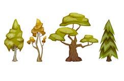 Reeks van vier bomenpijnboom, berk, eik, esp Vector illustratie vector illustratie