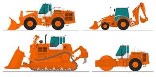 Reeks van vier bouwmachines Royalty-vrije Stock Foto